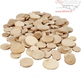 Wooden Buttons, D: 20-35 mm, thickness 4 mm, china berry, 320pcs