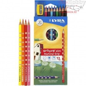 Groove Slim Colouring Pencils, lead: 3,3 mm, L: 18 cm, asstd colours, 12pcs
