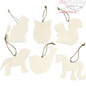 Wooden Ornament, H: 8-10 cm, poplar wood, 6pcs