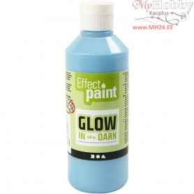 Glow in the Dark Paint, fluorescent light blue, 250ml