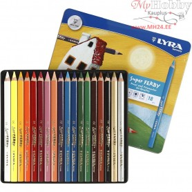 Super Ferby 1 colouring pencils, lead: 6,25 mm, L: 18 cm, asstd colours, 18pcs