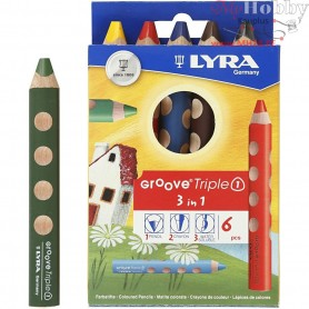Groove Triple1 colouring pencils, lead: 10 mm, L: 12 cm, asstd colours, 6pcs