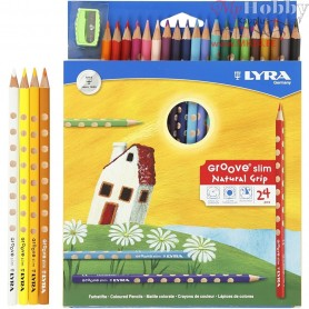 Groove Slim Colouring Pencils, lead: 3,3 mm, L: 18 cm, asstd colours, 24pcs