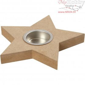 Tea Light Candle Holder, D: 15 cm, H: 18 mm, MDF, 1pc