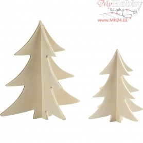 Christmas Trees, H: 13+18 cm, plywood, 2pcs