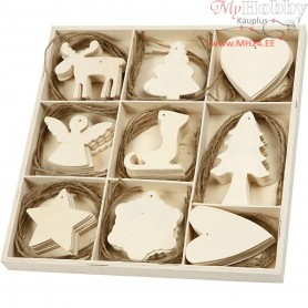 Wooden Ornament, christmas, size 7-8 cm, thickness 3 mm, plywood, 72pcs