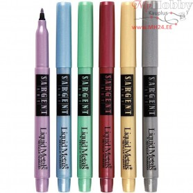 Liquid Metallic Markers, line width: 1 mm, metallic colours, 6pcs