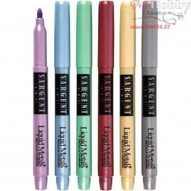 Liquid Metallic Markers, line width: 2 mm, metallic colours, 6pcs