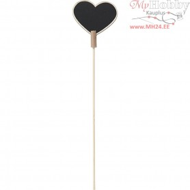 Sign on a stick, Heart, size 6,9x5,3 cm, thickness 3 mm, 5pcs