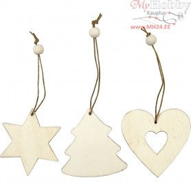 Wooden Ornament, heart, star, christmas tree, size 6 cm, thickness 3 mm, 9pcs