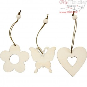 Wooden Ornament, flower, butterfly, heart, size 6 cm, thickness 3 mm, 9pcs