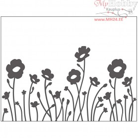 Embossing Folder, size 11x14 cm, thickness 2 mm, flowers, 1pc