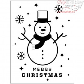 Embossing Folder, D: 11x14 cm, thickness 2 mm, snowman, 1pc
