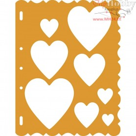 Shape Template, sheet 21x28 cm, Hearts, 1pc
