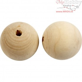Wooden Bead, D: 50 mm, hole size 8 mm, china berry, 20pcs