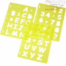 Shape Template, sheet 21x28 cm, Upper Case Letters & Numbers, 1set