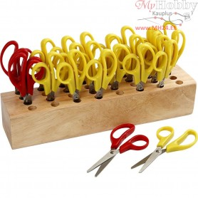 Kids Scissors with rack, L: 12,5 cm, round tip, 1set