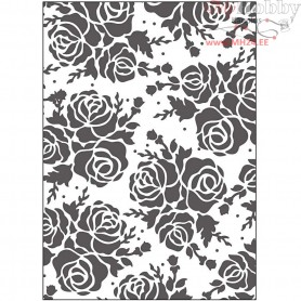 Embossing Folder, size 13x18,5 cm, thickness 2 mm, rose, 1pc