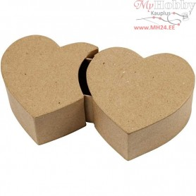 Double Heart Box, W: 20 cm, H: 5 cm, 1pc, L: 11 cm