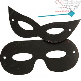 Scratch Masks, H: 7 cm, W: 18 cm, neon colours, black, 4pcs
