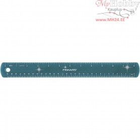 Ruler, L: 30 cm, W: 3,5 cm, blue, glitter, 1pc