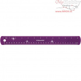Ruler, L: 30 cm, W: 3,5 cm, purple, glitter, 1pc