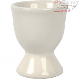 Egg Cup, H: 6,5 cm, off-white, 12pcs