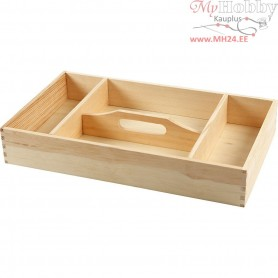 Wooden Tray, size 43x25 cm, H: 7 cm, pine, 1pc