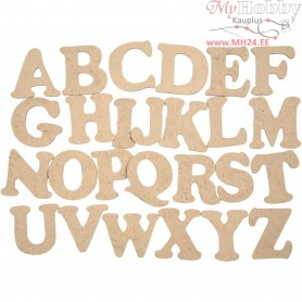 Wooden Letters - Assortment, A-Z, H: 4 cm, thickness 2,5 mm, MDF, 26pcs