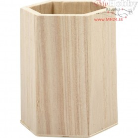 Pencil Holder, H: 10,5 cm, D: 8 cm, empress wood, 1pc