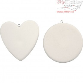 Hanging Ornaments, D: 6 cm, thickness 10 mm, white, 8pcs