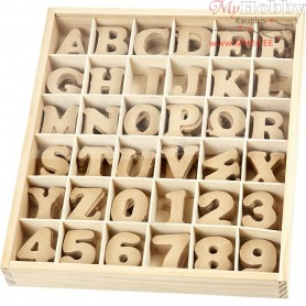 Letters and Numbers, H: 4 cm, thickness 2,5 mm, MDF, 288pcs