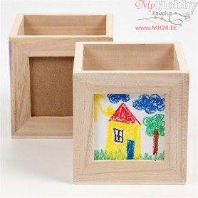 Pencil Holder, size 10x10x10 cm, hole size 6,2x6,2 cm, empress wood, 1pc