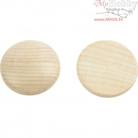 Wooden buttons, D: 30 mm, thickness 6 mm, china berry, 150pcs