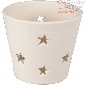Candle Holder with stars, D: 7 cm, H: 6,5 cm, white, 12pcs