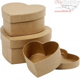 Heart Boxes, D: 10+12,5+15 cm, H: 5+6,5+7,5 cm, 3pcs