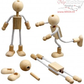 Flexi Figures, H: 12 cm, mixed wood, 4sets