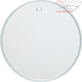 Glass Plate, Round, D: 7 cm, thickness 3 mm, 10pcs