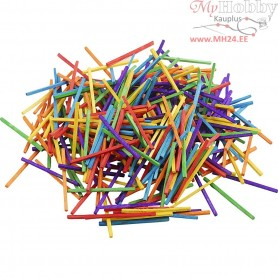 Matchsticks, L: 5 cm, D: 2 mm, asstd colours, birch, 500g
