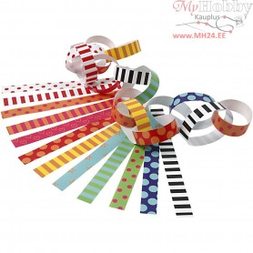 Paper Chains, L: 16 cm, W: 15 mm, Pattern, 2400ass.
