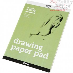 Drawing Paper Pad, A5 148x210 mm,  120 g, white, 30sheets