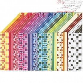 Color Bar Paper, A4 210x297 mm,  100 g, pattern, 16asstd. sheets