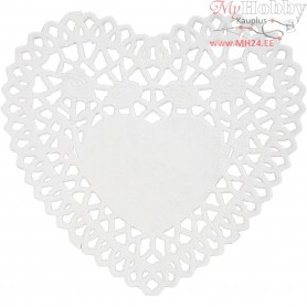 Doilys, D: 10 cm, heart-shaped, 30pcs