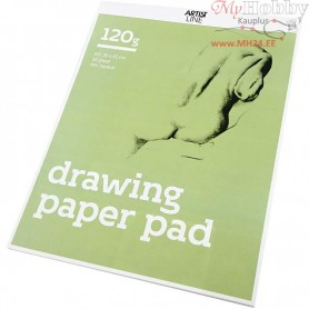 Drawing Paper Pad, A3 297x420 mm,  120 g, white, 30sheets