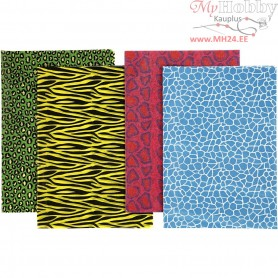 Decoupage Paper, sheet 25x35 cm,  17 g, colored animal print, 8asstd. sheets