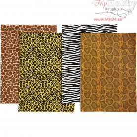 Decoupage Paper, sheet 25x35 cm,  17 g, animal print, 8asstd. sheets
