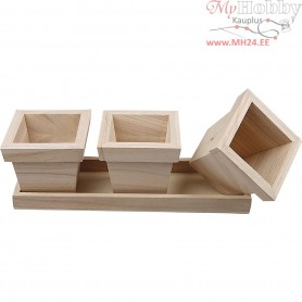 Flower Pot Set, size 27x9x9 cm, empress wood, 1set