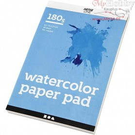 Watercolour Paper Pad, A5 148x210 mm,  180 g, white, 20sheets