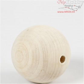 Wooden Bead, D: 60 mm, hole size 9 mm, grass wood, 3pcs