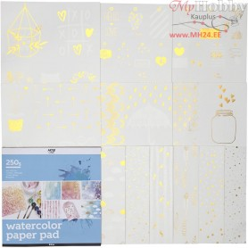 Watercolor Paper Pad with Printed Designs, size 30,5x30,5 cm, white, 12sheets